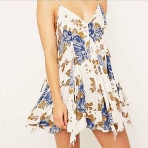 Free People ivory blue floral trapeze swing dress